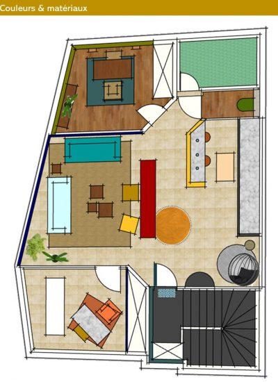 Projection 2D en couleurs selon le Feng Shui pour les différents espaces de ce lieu professionnel