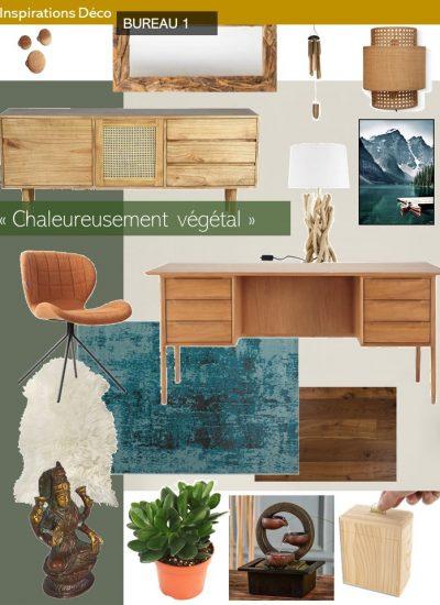 proposition de couleurs et matériaux pour la décoration d'un bureau secteur bois et eau en Feng shui